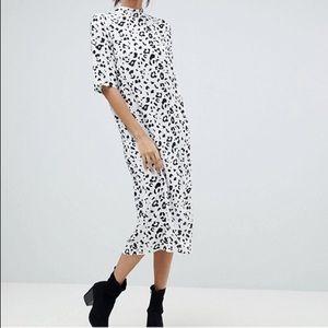 ASOS    Column midi dress in mono animal print